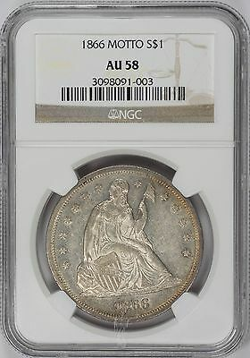1866 $1 Motto Liberty Seated Dollar – NGC AU58 Rare Coin