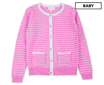 Pumpkin Patch Girls' Carly Rose Striped Cardigan - Wild Orchid