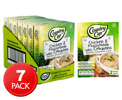 7 x Country Cup Instant Soup Chicken & Mushroom w/ Croutons 45g 2pk