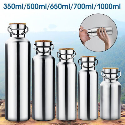 350/500/650/700/1000ml Stainless Steel Wide Mouth Drinking Water Bottle Sports