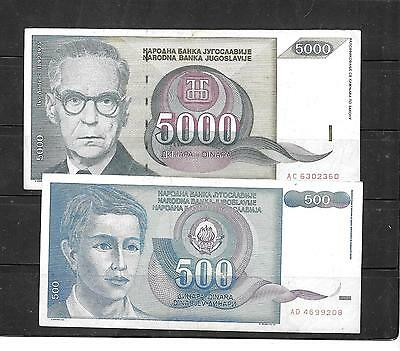 Yugoslavia 2 Different Large  Banknote Bill Paper Money Note Lot Set Collection