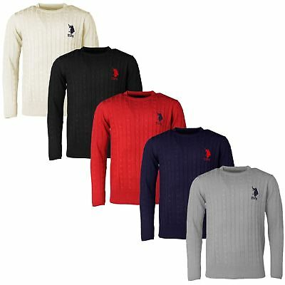 Mens Long Sleeve Cableknit Jumper Crew Neck US Polo Assn Branded Top | Big Pony