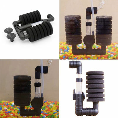 Single Dual Practical Aquarium Biochemical Sponge Filter Fish Tank Air Pump New