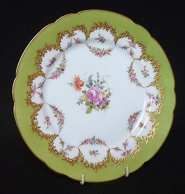 Antique Continental Porcelain Cabinet Plate - Painted Flowers & Heavy Gilding