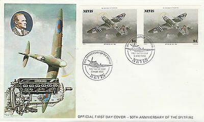 Nevis 4933 - 1986 SPITFIRE $4 IMPERF PAIR on FIRST DAY COVER