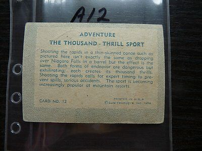 TRADING CARDS 1956 ADVENTURE The Thousand - Thrill Sport  CARD NO 12