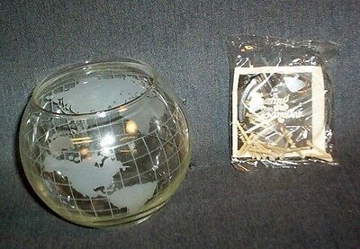 Vintage NESCAFE Glass World Floating Candles w/Globe in Box Wicks Instructions