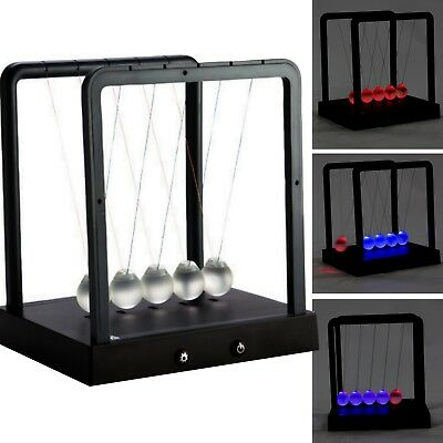Newtons Cradle Balance Balls Led Light Up Desktop Toys Science Frosted Glass New