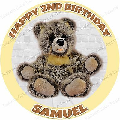 """1 TED TEDDY BEAR MOVIE PARTY 7.5/"""" PERSONALISED ROUND EDIBLE ICING CAKE TOPPER"""