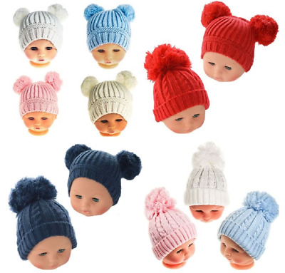 Baby hat POM POM cable knit knitted boy girl