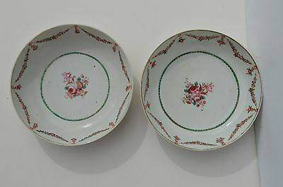 2 Antique Hand Painted 18Th Century Chinese Export Porcelain Shallow Dish/bowl