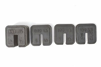 Rare Set Of 4 Heavy Duty Cast Iron Square Shape Scale Weight For Big Scale