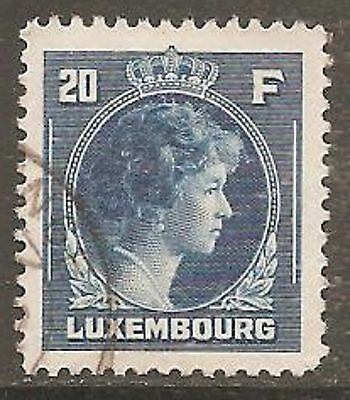 LUXEMBOURG 1944 Charlotte 20f. Deep Blue SG 459 Used (Cat £31)