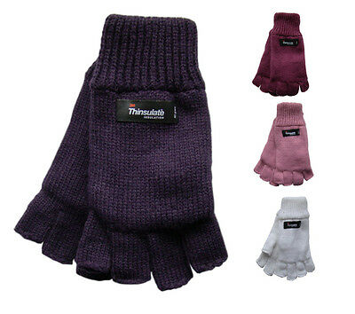 Ladies Fingerless Knitted Gloves 40g Thinsulate Insulation Acrylic Winter Warm