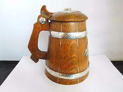 Superb & Scarce Arts & Crafts Silver And Amber Mounted Coopered Lidded Tankard