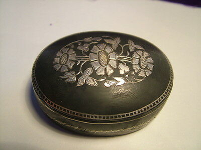 Collectable Antique silver niello trinket box late 19th century