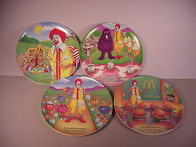 1989 McDonald's restaurant 4 Collector Plates fast food collectibles Grimace New