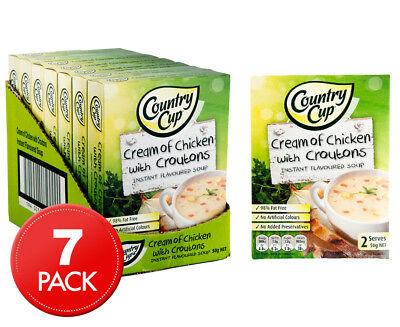 7 x Country Cup Instant Soup Cream Of Chicken w/ Croutons 50g 2pk