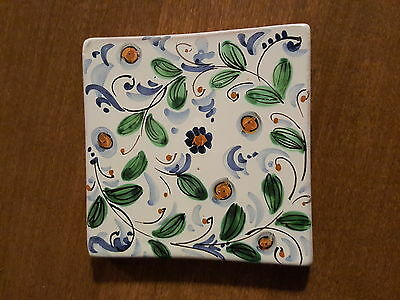 Hand painted Firenze Floral Green & Blue Tile Signed