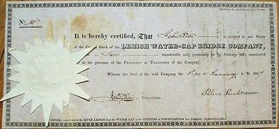 Lehigh Water-Gap Bridge Company 1827 Stock Certificate #10 - Pennsylvania PA