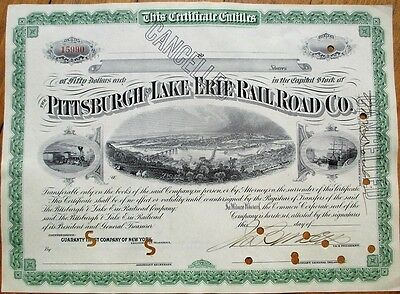 Pittsburgh & Lake Erie Railroad Co. 1910 Stock Certificate - Three Vignettes
