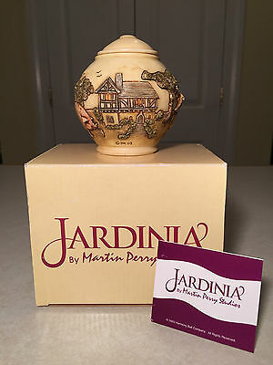New in Box JARDINIA Weavers Cottage by Martin Perry/HARMONY KINGDOM Trinket Jar