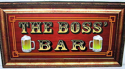 "Bar Door/wall Plaque Sign ""the Boss' Bar"" Great Father's Day Or Birthday Gift Bn"