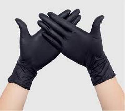 Hairdressing 6 X Black Rubber Gloves 100% Latex Size Large