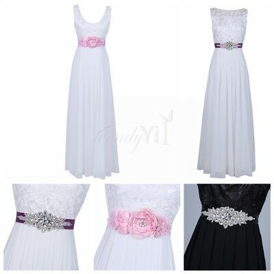 Flower Bridal Rhinestone Crystal Waistband Beaded Sash Wedding Dress Belt Ribbon