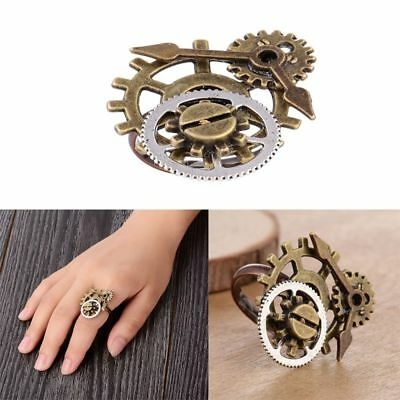 Retro Punk Steampunk Watch Part Gears Ring Antique Copper Rings Party Jewelry