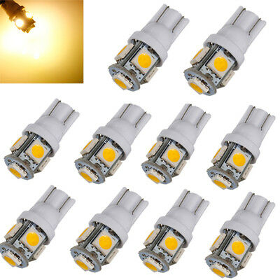50Pcs T10 501 W5W 5SMD 5050 LED Canbus Car Side Wedge Tail Light Bulb Warm White