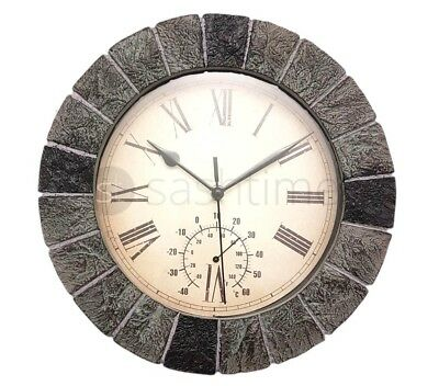 Gardman Bordeaux Garden Wall Clock Thermometer Grey Slate Effect Roman Numerals