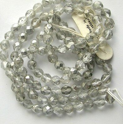 Vintage Antique Rough English Cut 6mm Crystal Glass Beads SILVERY GOLD RADIANCE!