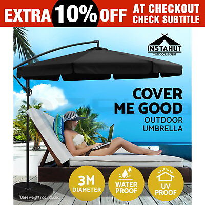 3M Garden Outdoor Umbrella Cantilever Shade Yard Deck Patio Market Black