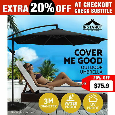 3M Garden Umbrella Outdoor Cantilever Shade Yard Deck Patio Market Black