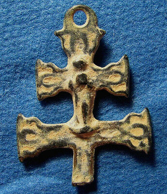Old CROSS Amulet Circa 19 cen. Christian Pilgrim / Palmer with Jesus & Maria.