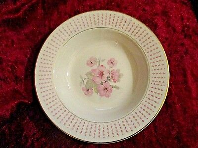 Set of 2 Homer Laughlin Vintage Soup Salad Bowls Pink Floral Gold Rimmed