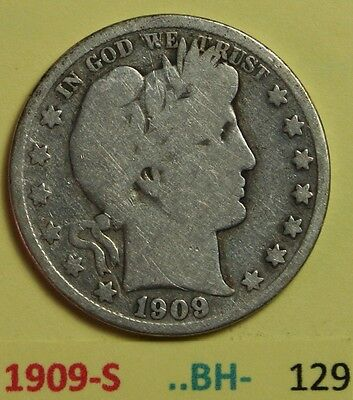 1909-S US Barber silver Half Dollars in Good Condition -- Photos BH- number