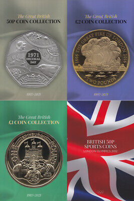 British Coin Hunt Collectors Albums £1 £2 50p Olympic Albums Birthday Xmas 2019