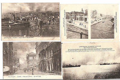 LOT 4 POSTCARDS INCENDIE de SALONIQUE 1917 GRECE / THE FIRE of 1917 GREECE