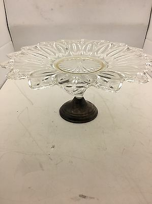 Beautiful  Crystal Sterling Cake Plate