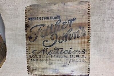 FATHER JOHN'S MEDICINE wood shipping box advertising rustic primitive vintage