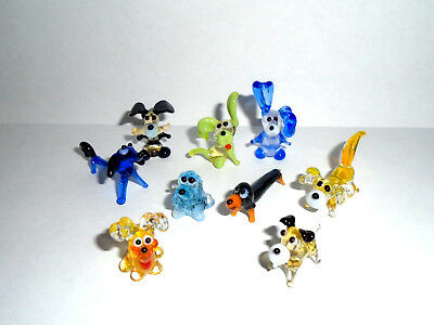 Miniature Art Glass Murano Glass Sculpture Blown Glass Figurine Set #9 Dogs