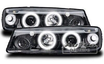 AuCo Highpower LED Angel Eyes Scheinwerfer Set Schwarz passend für Opel Calibra