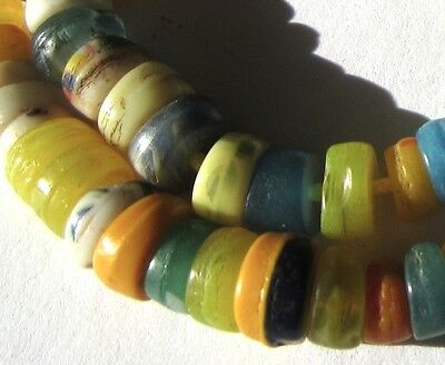 51 Rare Amazing Old Small Mixed Czech Disk Antique Beads African Trade