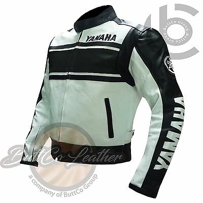 RIDING JACKETS. Yamaha 5241 Black & White Leather Motorbike Biker Armour Coat