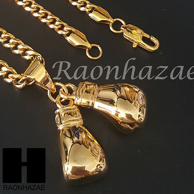 316L Stainless steel Gold Silver Ali Boxing Gloves Pendant Miami Cuban SS036