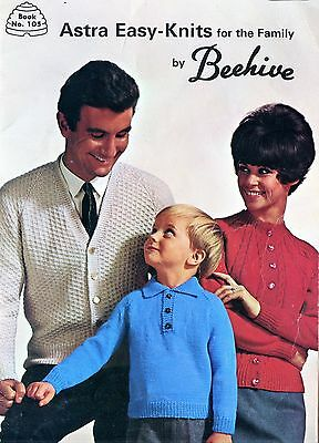 Old 1950's Beehive Knitting Booklet Astra Easy Knits Family Sweaters
