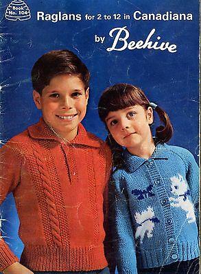 Old 1950's Beehive Knitting Booklet Canadiana Raglans Childen's Sweaters
