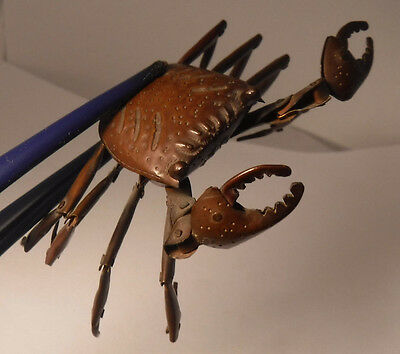 Antique Handmade Japanese Meiji Period OKIMONO articulated copper crab signed